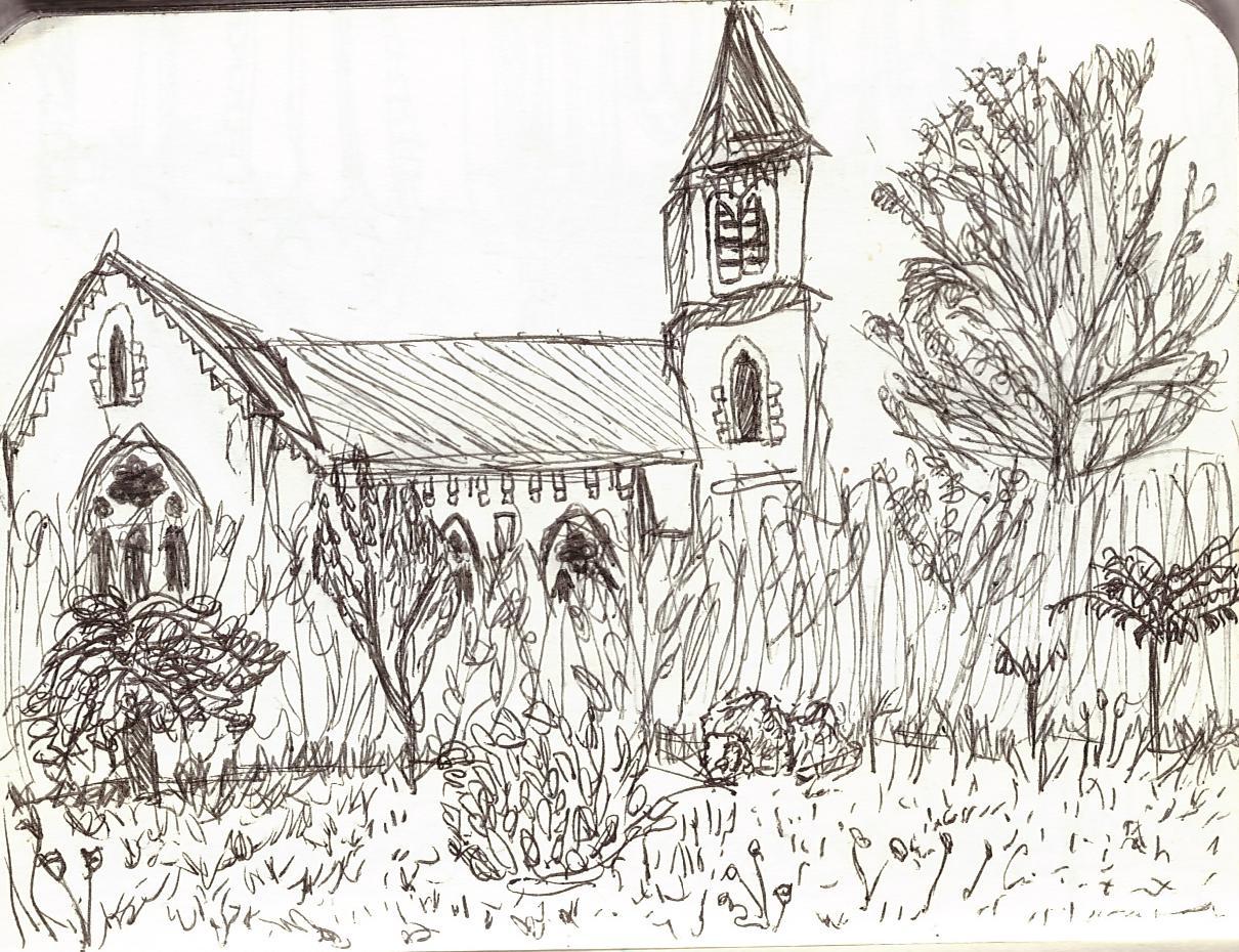 La même église entourée d'arbres