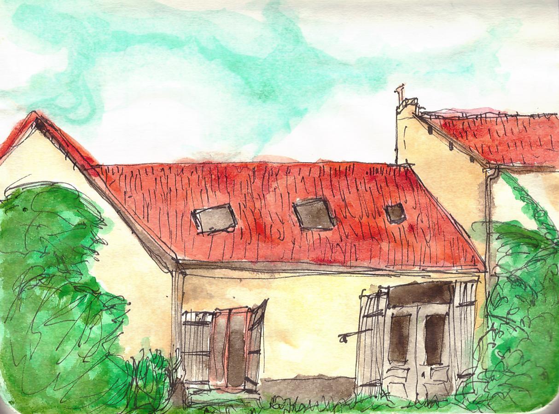 La même maison de dos et peinte à l'aquarelle