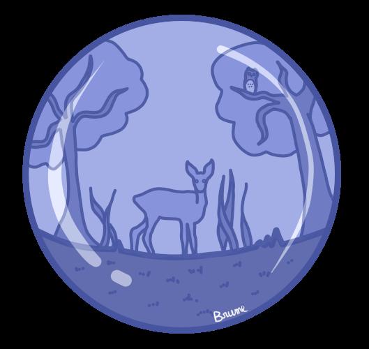 Un univers de forêt contenu dans une bulle