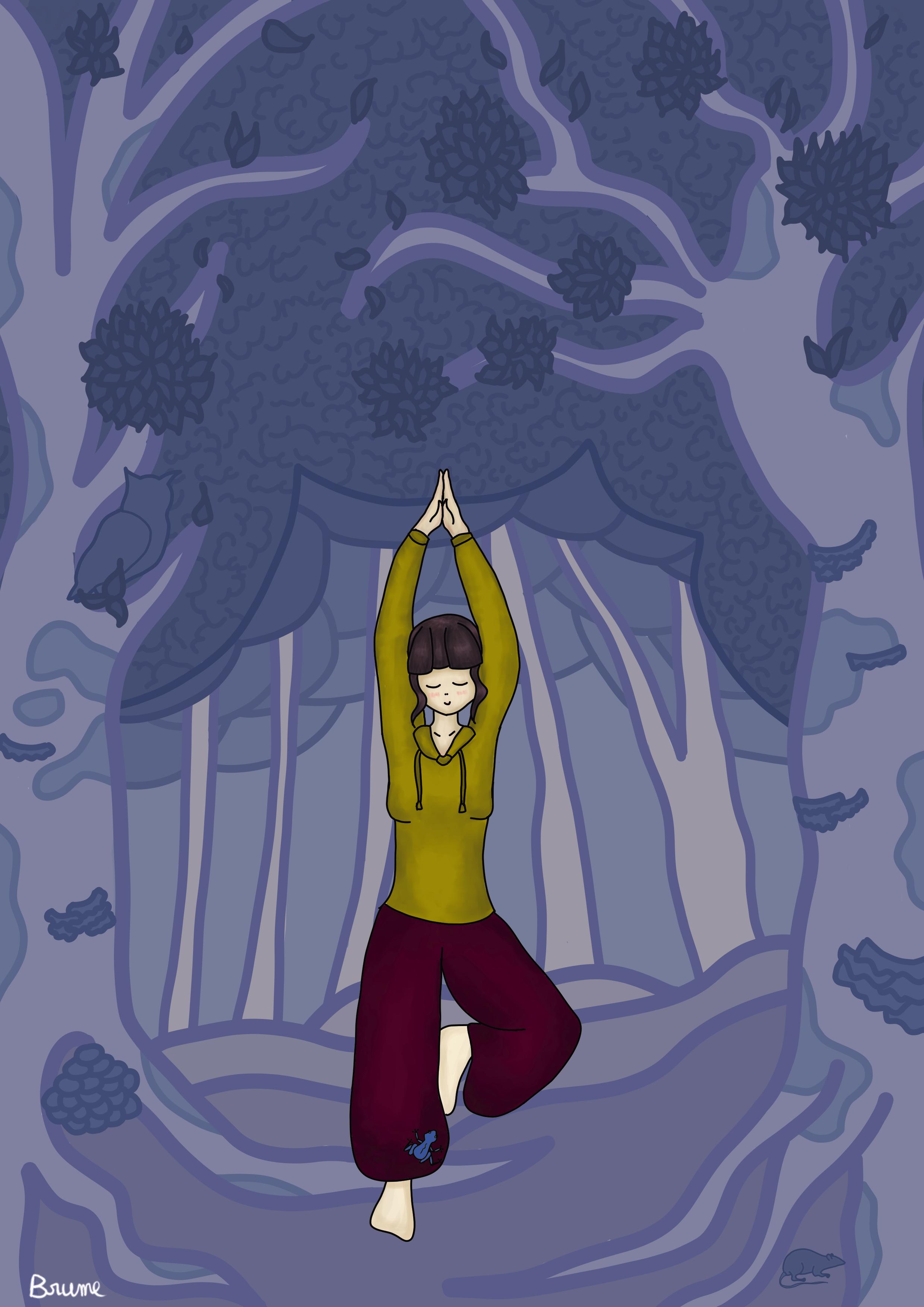 Une illustration pleine page avec la posture de l'arbre dans la forêt