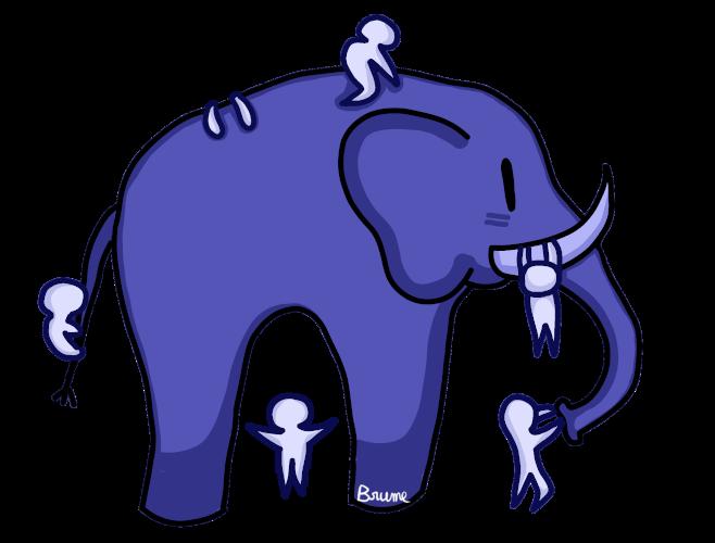 Un éléphant observé par de petits bonhommes